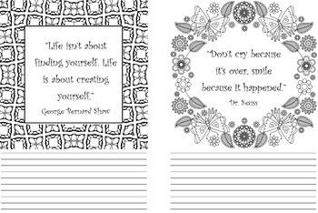 Inspiring Quotes Lined Coloring Journal Pages Coloring Journal Journal Pages Inspirational Quotes