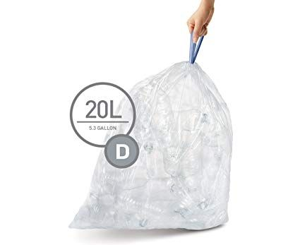 Simplehuman Code D Custom Fit Recycling Liners Drawstring Trash Bags 20 Liter 5 2 Gallon 12 Refill Packs 240 Count Clear Simplehuman Trash Bags Coding