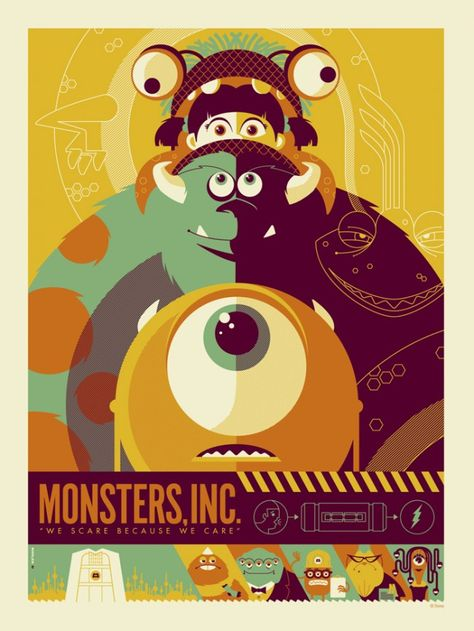 This Monsters Inc. poster design Credits: Monsters Inc. Poster Design by (©) Tom Whalen. Disney Vintage, Retro Disney, Vintage Cartoon, Disney Love, Modern Disney, Vintage Movies, Tom Whalen, Disney Pixar, Art Disney