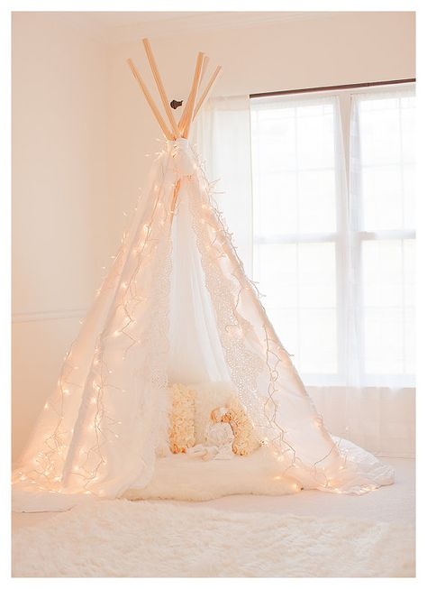 Gorgeous Lace Edge Photography Teepee Tent by RaspberryAndLimeShop, $85.00 Just bought this for my girls playroom.  They are gonna be thrilled!