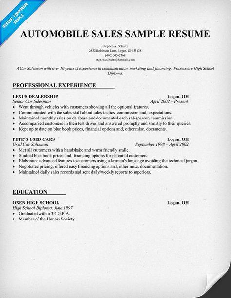 Automobile Sales Resume Sample Resume Samples Across All - sample resume for car salesman