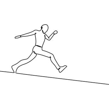 One Line Art Drawing Of A Person Running With A Passion Isolated On White Background Vector Illustration Drawing Trendy Isolated Png And Vector With Transpar Person Drawing Line Art Drawings Line