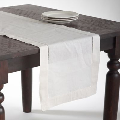 Saro Lifestyle Classic Hemstitch 120 Inch Table Runner In Ecru Table Linens Table Runner Size Table Runners