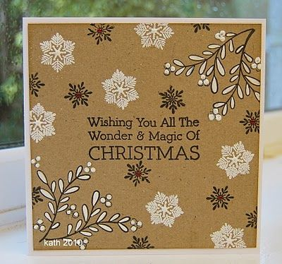 handmade Christmas card ... Hero Arts ... square format ... kraft base with white and black inking ... luv the non-traditional look with snowflakes, leafy vines and a wonderful sentiment ...