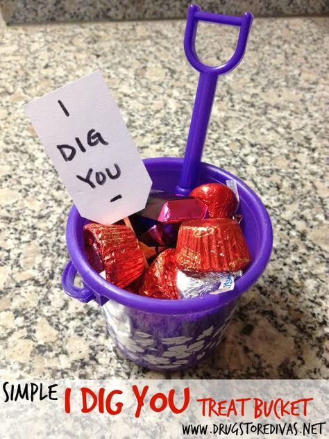 Celebrate Valentine's Day with this Simple I Dig You Treat Bucket from www.drugstoredivas.net.