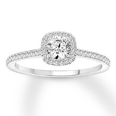 This Elegant 14 Karat White Gold Engagement Ring Features A Carat Rou White Gold Engagement Rings Round Diamond Engagement Rings Unique Engagement Rings Halo