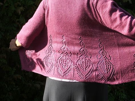 From simple cardigan...to Fabulous with a striking lace pattern. Ravelry