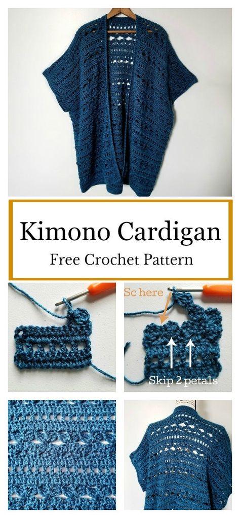 Waters Edge Kimono Cardigan Free Crochet Pattern - Do It Yourself And Crafts Cardigan Au Crochet, Gilet Crochet, Crochet Shawl, Knit Crochet, Crochet Sweaters, Crochet Edgings, Crochet Vests, Crochet Motif, Crochet Tops