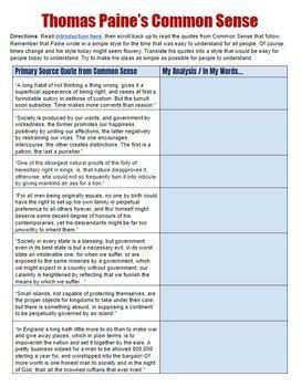 Thomas Paine Common Sense Analysis | US History Activities ...