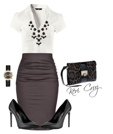 """Business Professional Outfit"" by keri-cruz ❤ liked on Polyvore featuring H&M, Paule Ka, Jimmy Choo, Yves Saint Laurent and River Island"