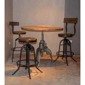 Table Bar Industrielle A Manivelle Reglable Atelier Grey Meuble House Gris Table Bar Meuble House Bars Industriels