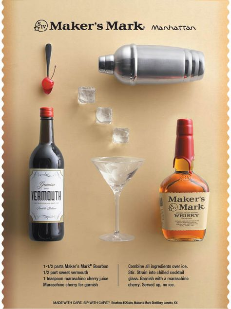 The Maker's Mark #Manhattan is a classic recipe that is perfect for any happy hour. #bourbon #classic #cocktail