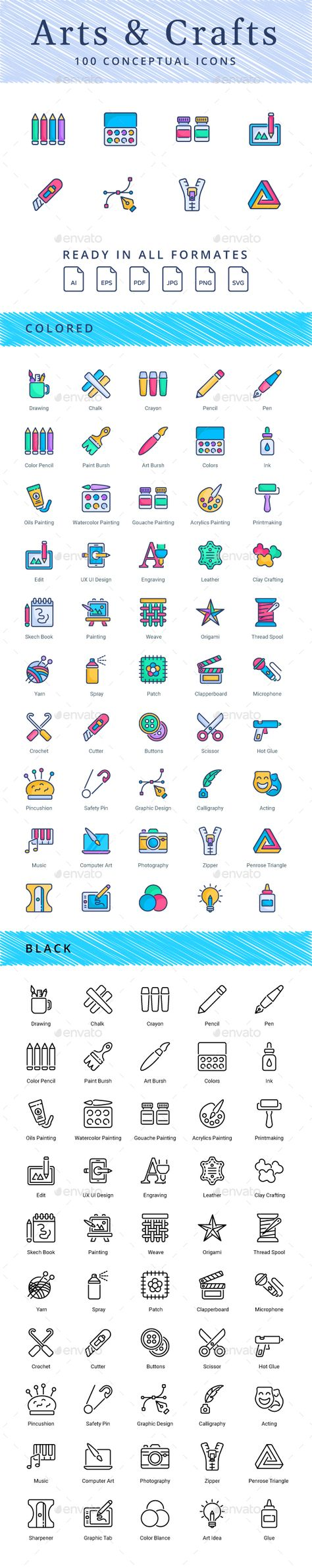 Arts and Crafts. Fully customisable set of icons. #icon #design #art #digitalArt #application #arts #blogging #calligraphy #ClayCrafting #clothes #clothing #color #compose #crafts #draw #drawing #education #gouache #hobbies #ink #knitting #leather #material #OilsPainting #paint #palette #picture #school #stationary #teaching #textile #UxUiDesign #watercolors