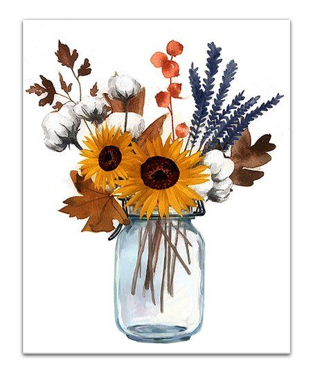 Designs Direct Creative Group White Fall Floral Cotton Mason Jar Wrapped Canvas Best Price And Reviews Zulily Fall Floral Wrapped Canvas Designs Direct