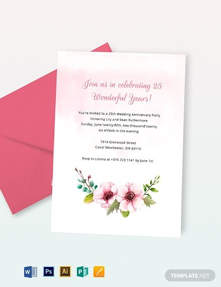 25th Wedding Anniversary Invitation Wedding Anniversary