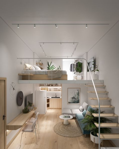 Lofted bedroom ideas with inspirational modern decor. Featuring unique staircase designs, modern balustrades, stylish beds and minimalist bedroom decor. Loft Interior Design, Loft Design, Tiny House Design, Loft Room, Bedroom Loft, Mezzanine Bedroom, Loft Bed Room Ideas, Mezzanine Loft, Loft Bathroom
