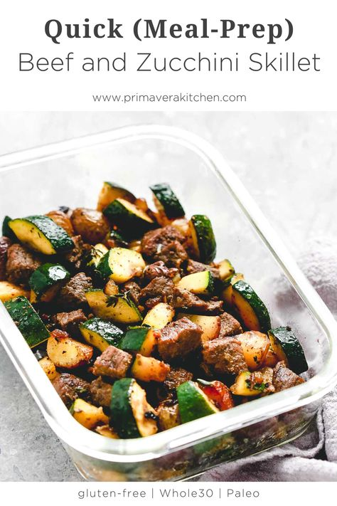 Quick Beef and Zucchini Skillet (Meal-Prep) - Beef and zucchini makes a quick evening meal or a great meal prep solution. Full of flavor and nutrition, it is ready is about 30 minutes. Easy Healthy Meal Prep, Easy Healthy Recipes, Easy Meals, Healthy Eating, Clean Eating, Healthy Lunch Meals, Simple Meal Prep, Quick Meals For Dinner, Healthy Food