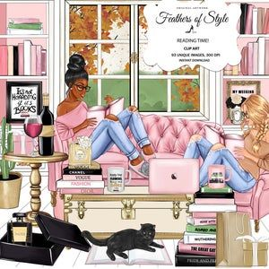 Girl Boss Clip Art, Book Lover Clipart, Books Clipart, Library Illustration, Fashion Illustration, Afro girl clipart