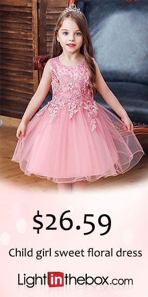 30.79] Kids Girls' Active Sweet Solid Colored Floral Embroidered Sleeveless  Knee-length Dress Blushing Pink   Girls dresses online, Dresses, Flower girl  dresses