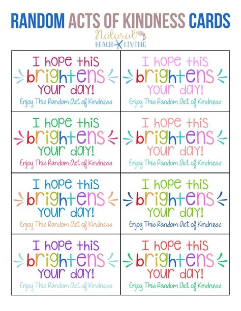 The Best Random Acts of Kindness Printable Cards Free – Natural Beach Living Random Acts of Kindness Printable Cards can be fun for the whole family, Get your kids involved in spreading kindness, Acts of Kindness Gift ideas and free printables Kindness Notes, Kindness For Kids, Kindness Matters, Random Acts Of Kindness Ideas For School, World Kindness Day, Kindness Projects, Kindness Activities, Primary Activities, Summer Activities