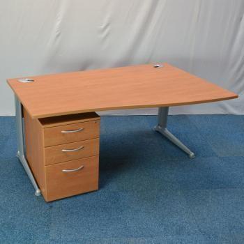 Walnut 1600x800 Wave Desk Pedestal Used Office Furniture For Uk Desking Desks Pinterest And