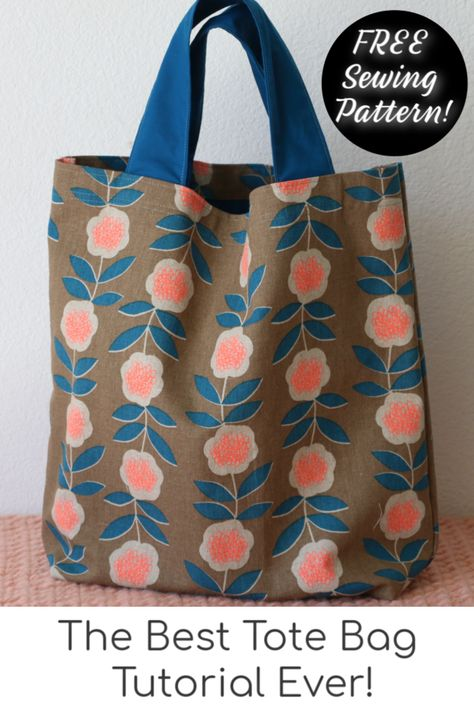 How to Sew a Tote Bag - Learn to Sew Series - - Learn how to make this versatile and easy tote bag for beginners! Bag Patterns To Sew, Sewing Patterns Free, Free Sewing, Tote Bag Pattern Free Easy, Sewing Tips, Sewing Hacks, Skirt Patterns, Diy Bags Sewing, Blouse Patterns