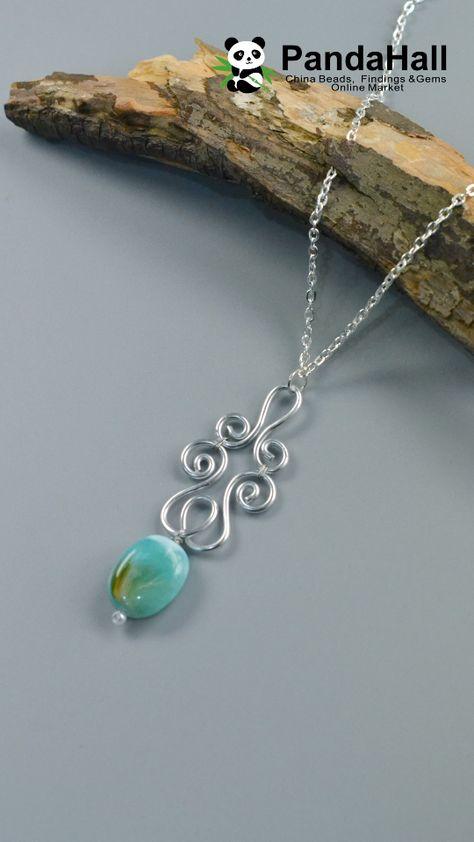 #PandaHall Wire Winding Pendant Necklace