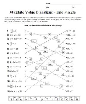 31++ Absolute value equations worksheets with answer key For Free