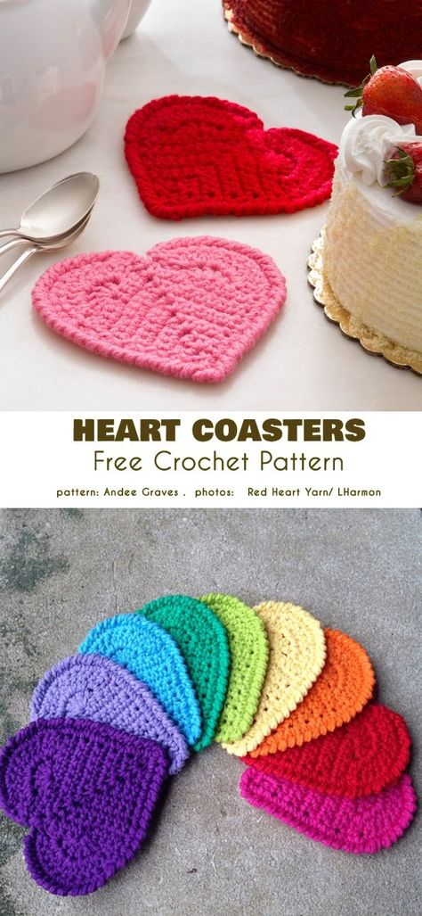 Easy peasy valentine s day project free crochet patterns pretty valentine crocheted heart coasters or mug rugs pink and red valentine decor Free Heart Crochet Pattern, Crochet Bookmark Pattern, Crochet Coaster Pattern, Easter Crochet Patterns, Marque-pages Au Crochet, Free Crochet, Crochet Hearts, Beginner Crochet, Afghan Crochet