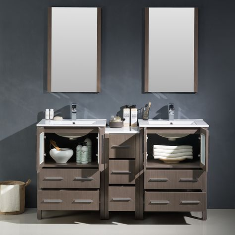 Fresca Torino 60-inch Grey Oak Modern Double Sink Bathroom Vanity with Side Cabinet & Integrated Sinks