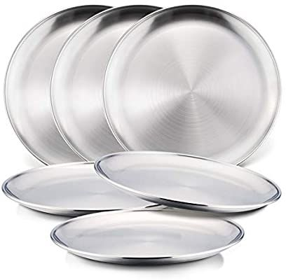 Amazon Com 6 Piece 18 8 Stainless Steel Plates Haware Metal 304 Dinner Dishes For Kids Toddlers Children 8 In 2020 Camping Plates Stainless Steel Plate Steel Plate