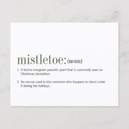 Christmas Mistletoe Definition Holiday Postcard Zazzle Com