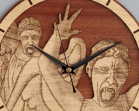 Handmade #WeepingAngels wooden clock - Doctor Who wallclock. Original and unique gift for friends. Worldwide Shipping. Available in:  www.geeksmarvels.etsy.com .  #DW #FBNusa #Geekgirl #RiverSong