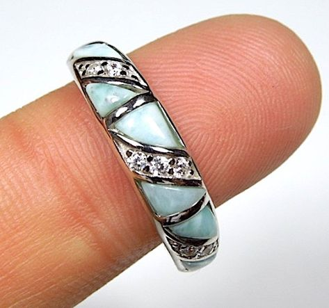 Genuine AAA Dominican Larimar Inlay 925 Sterling Silver Band Ring Size 6,7,8,9