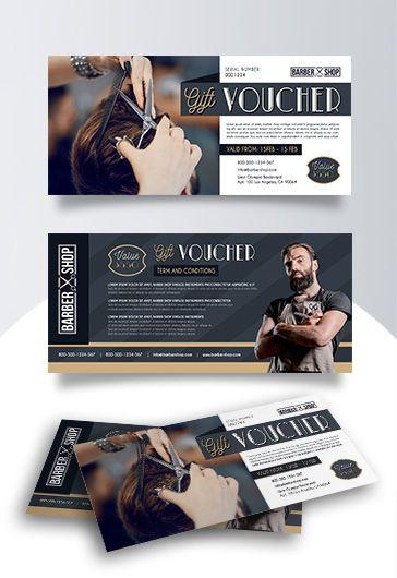 Barber Shop Premium Gift Certificate Template By Elegantflyer Barber Shop Voucher Design Gift Certificate Template