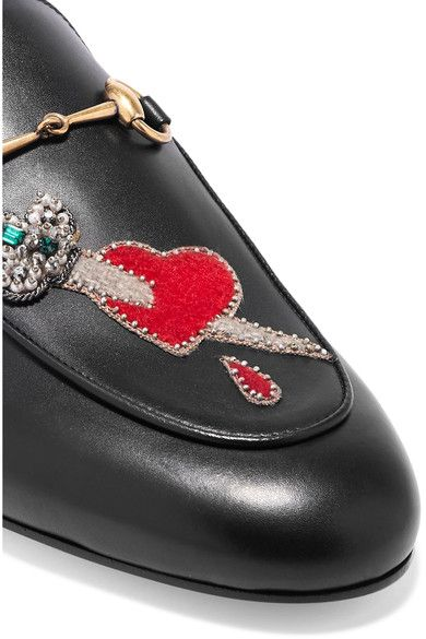 9b4d46d0a15 Gucci - Princetown Appliquéd Embellished Leather Slippers - Black ...