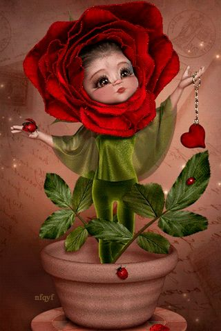 Rosegirl in a flower pot.gif