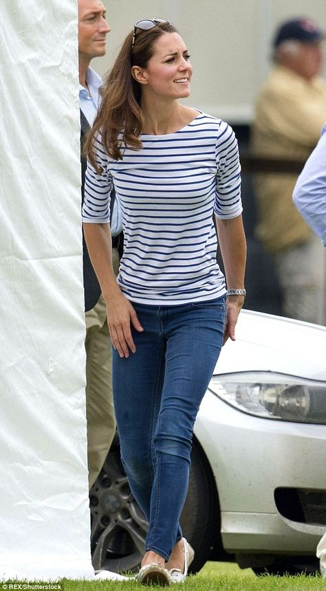 June 1, 2016. Kate was spotted out for the first time in a third version of the now-famous Breton top as she chased a boisterous Prince George around at a polo match in Cirencester Park; a £48 Me + Em breton shirt