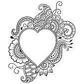 Decorative doodle heart mhendi style. Element for Valentine's Day.
