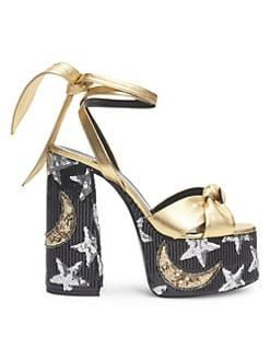 3d0adfcad86 Saint Laurent Paige Sequin Leather Platform Sandals, gold sandals with star  and moon platform and high heel
