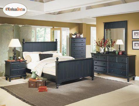 Black Cottage Panel Queen Bed Bedroom Furniture 500