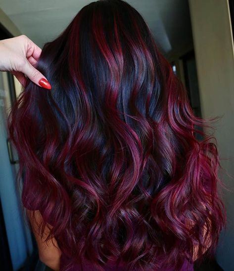 Fantastic Velvet Burgundy Hair Color Shades for Women 2020 - All For Hair Color Balayage Hair Color Purple, Hair Dye Colors, Hair Color For Black Hair, Cool Hair Color, Black Hair Styles With Color, Red Velvet Hair Color, Wine Red Hair Color, Red Color, Red Brown Hair Color
