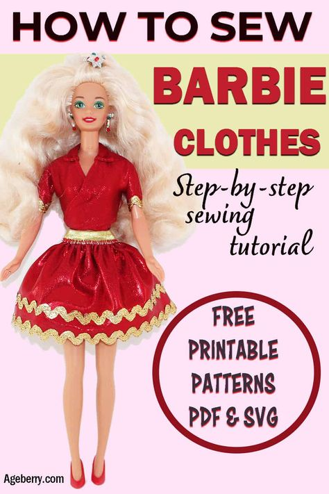 DIY Barbie doll clothes - a video sewing tutorial plus free printable patterns In this video sewing tutorial I will show you how to make Barbie clothes ( a top and a skirt) easily using my free printable Barbie clothes patterns. Sewing Barbie Clothes, Barbie Sewing Patterns, Doll Dress Patterns, Sewing Dolls, Clothing Patterns, Dress Sewing, Free Printable Sewing Patterns, Vintage Barbie Clothes, Fabric Sewing