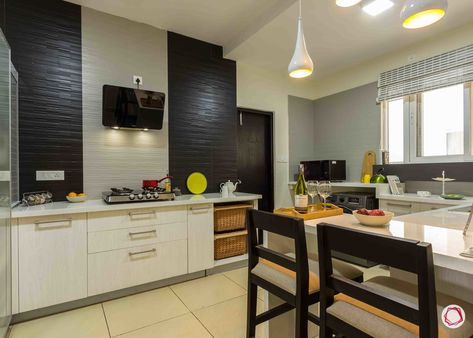 modern house design kitchen black and white tiles