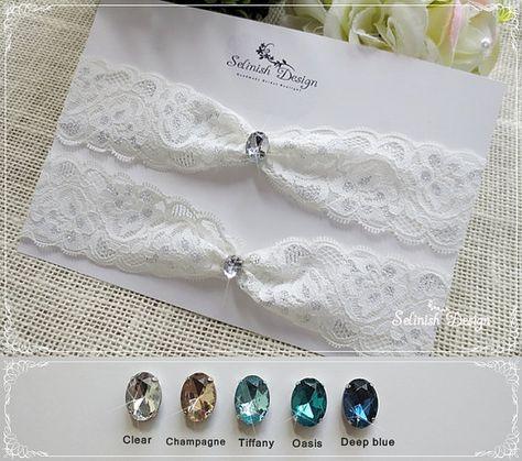Lace Garter Set, Something Blue Wedding Lace Garter, Blue Rhinestone Garter, Lace Garter Set -Color Options. @Lila Whidden