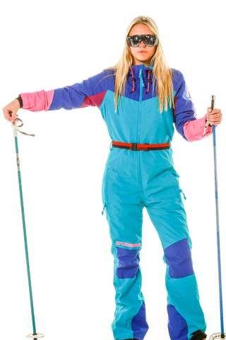 77b968cf women's retro blue ski suit onesie | Winter | Vintage ski jacket ...