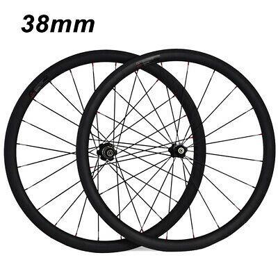 38//50mm Clincher Tubular Carbon Wheels Road Bike Standard 700C Carbon Fiber Rims
