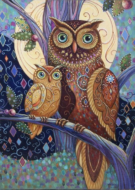 Wall Art - Painting - Owl Baby And Mother by Marjorie Sarnat