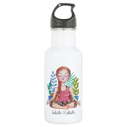 #Meditating Girl With Plants Stainless Steel Water Bottle - #drinkware #cool #special