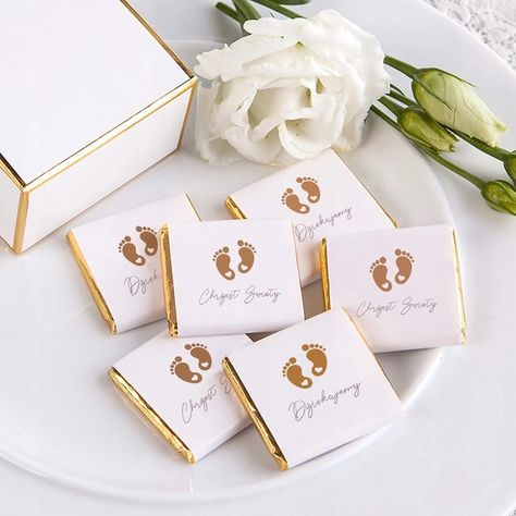 Czekoladka Podziekowanie Na Chrzest Zlote Stopki 8173213473 Oficjalne Archiwum Allegro Invitations Sweet Box Baby Gifts